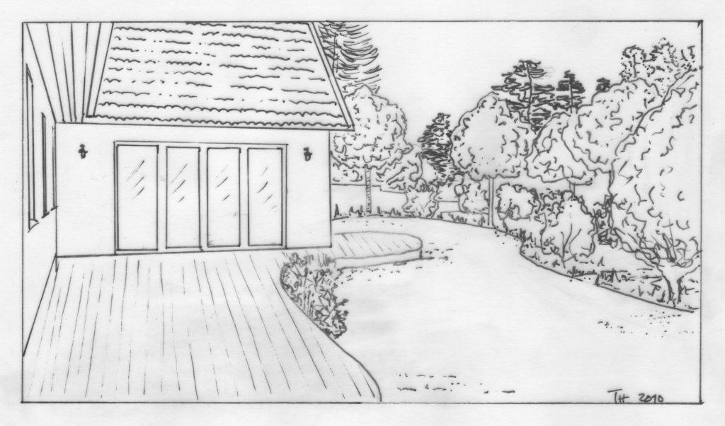 Trädgårdsdesign, Trädgårdsarkitektur, Trädäck, Äng
