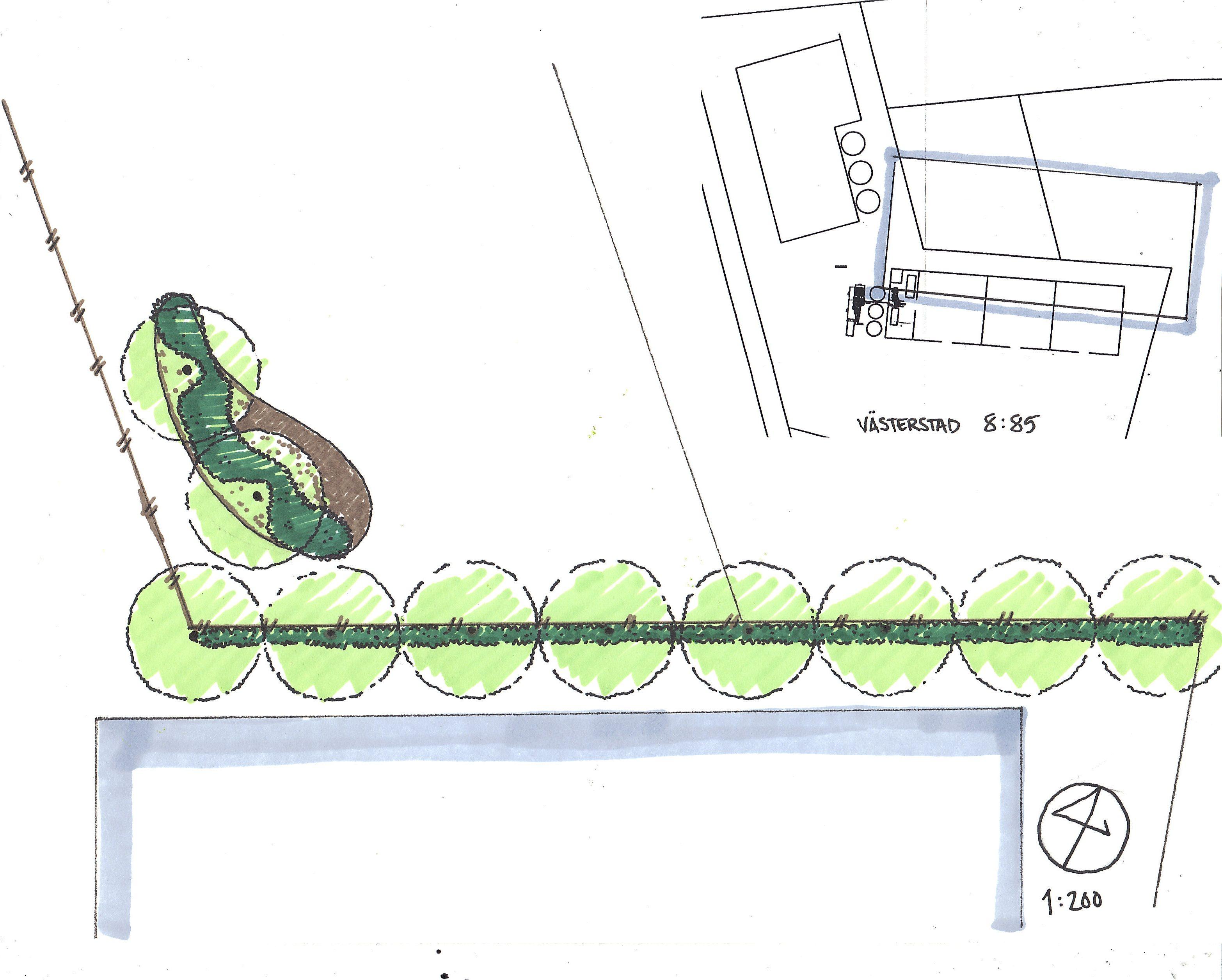 Trädgårdsdesign, Trädgårdsarkitektur, allé, bullerplantering