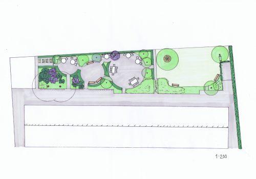 Trädgårdsdesign, Trädgårdsarkitektur, Innergård, Bostadsförening