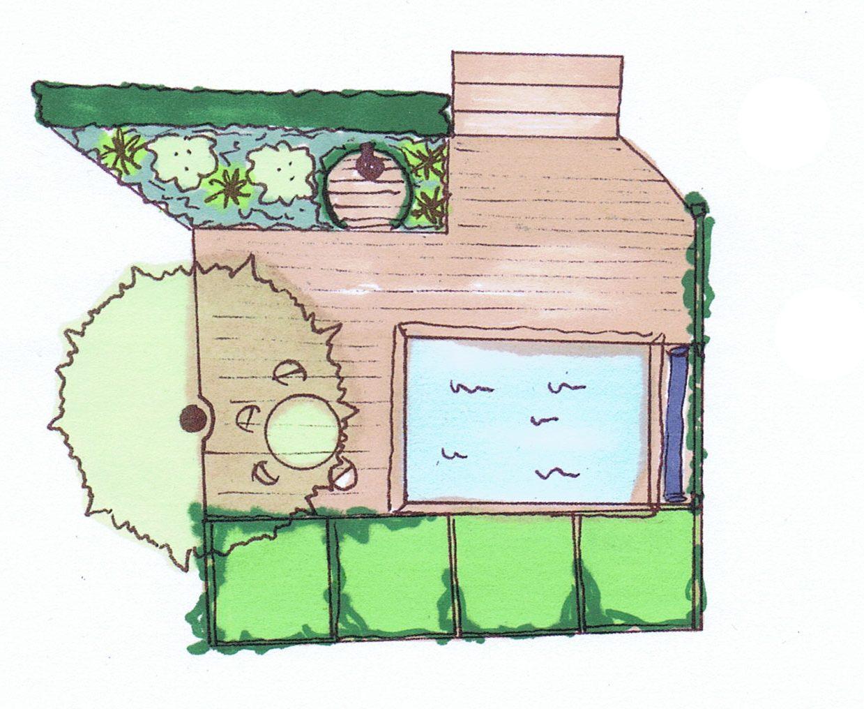 Trädgårdsdesign, poolträdgård, utedusch, Trädgårdsarkitektur