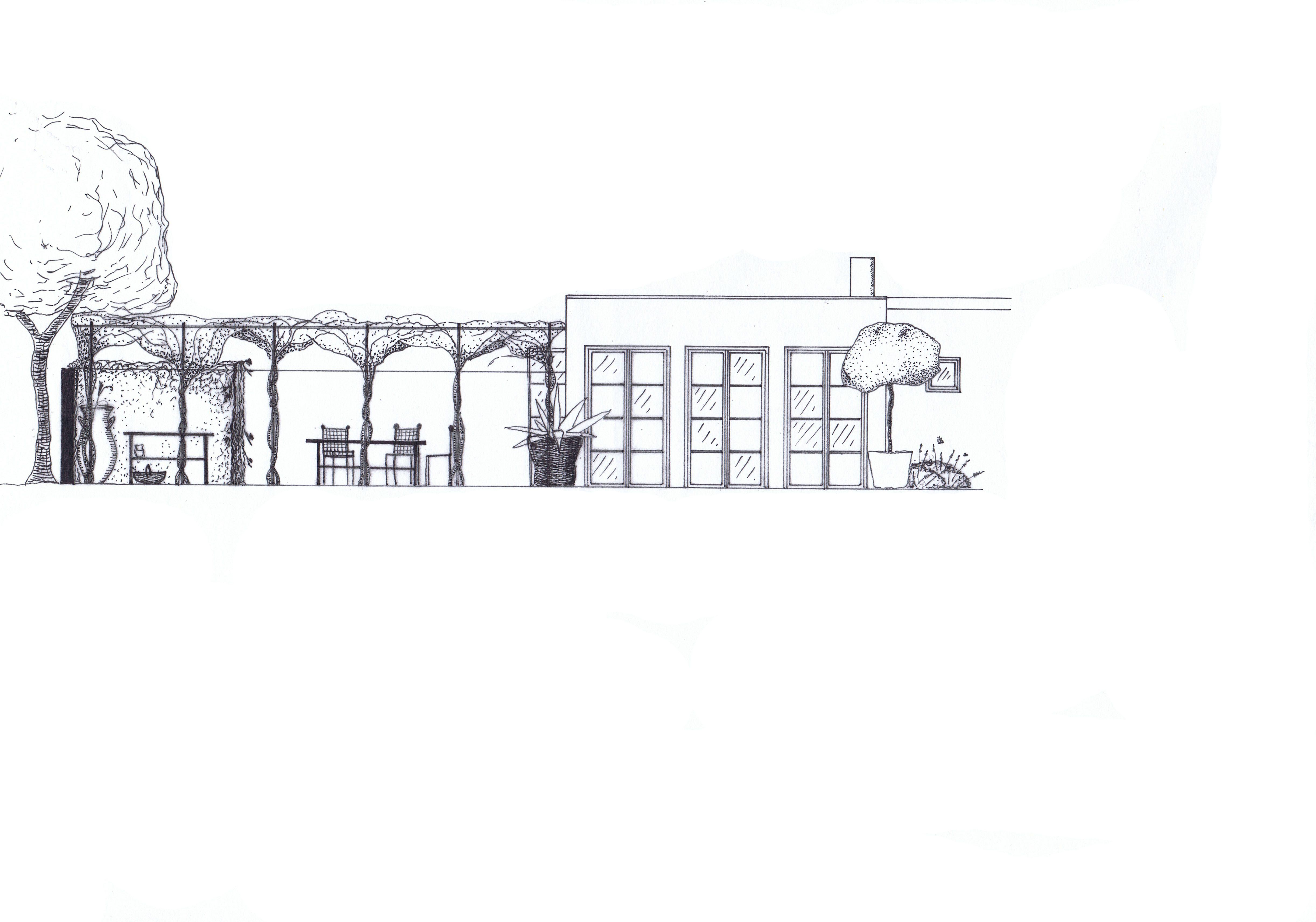 Trädgårdsdesign, pergola, medelhavsstil, Trädgårdsarkitektur